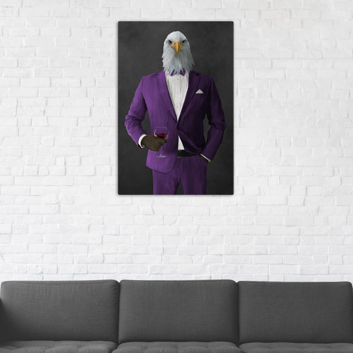 Bald eagle drinking red wine wearing purple suit wall art in man cave