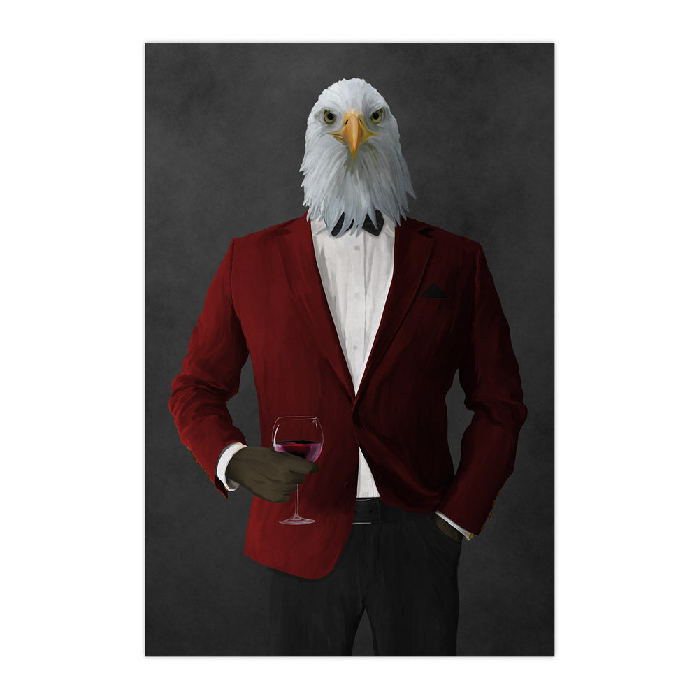 Bald eagle drinking red wine wearing red and black suit large wall art print