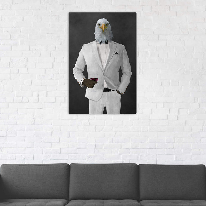 Bald eagle drinking red wine wearing white suit wall art in man cave