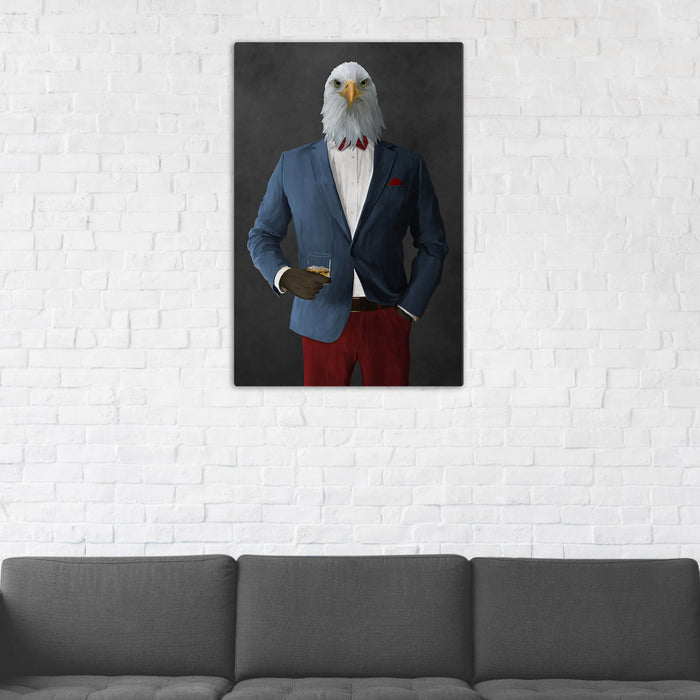 Bald eagle drinking whiskey wearing blue and red suit wall art in man cave