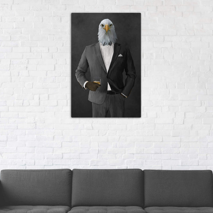 Bald eagle drinking whiskey wearing gray suit wall art in man cave