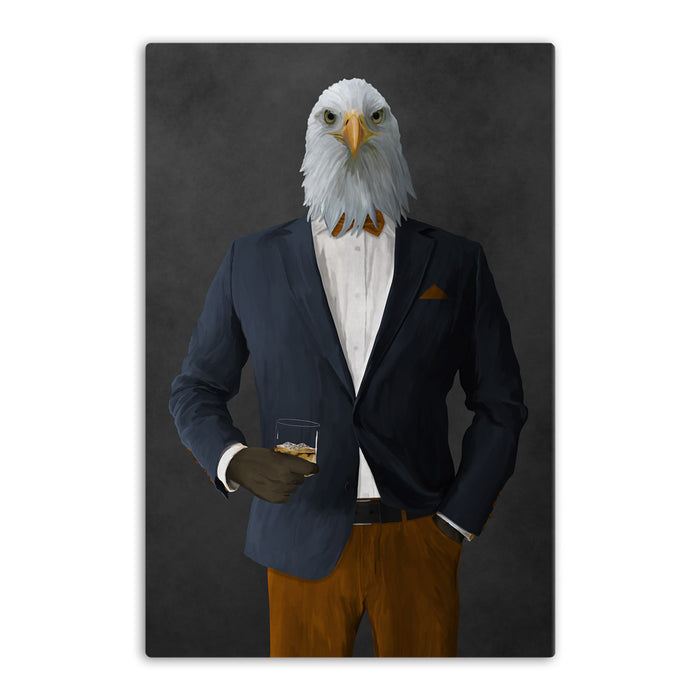 Bald eagle drinking whiskey wearing navy and orange suit canvas wall art
