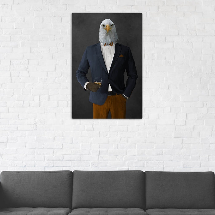 Bald eagle drinking whiskey wearing navy and orange suit wall art in man cave