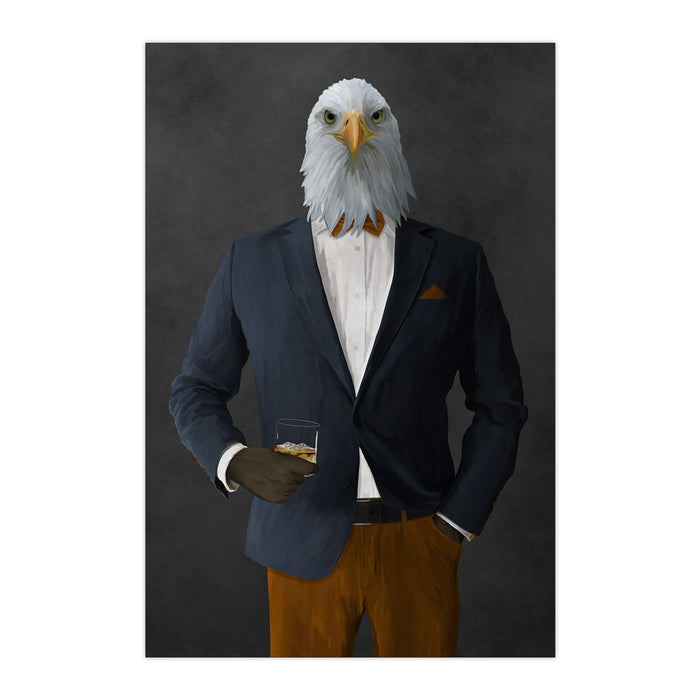 Bald eagle drinking whiskey wearing navy and orange suit large wall art print