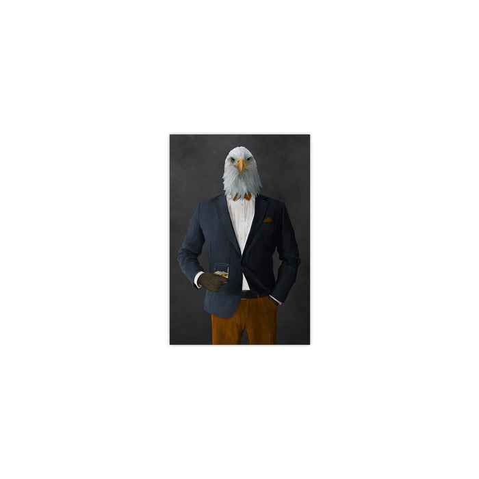 Bald eagle drinking whiskey wearing navy and orange suit small wall art print