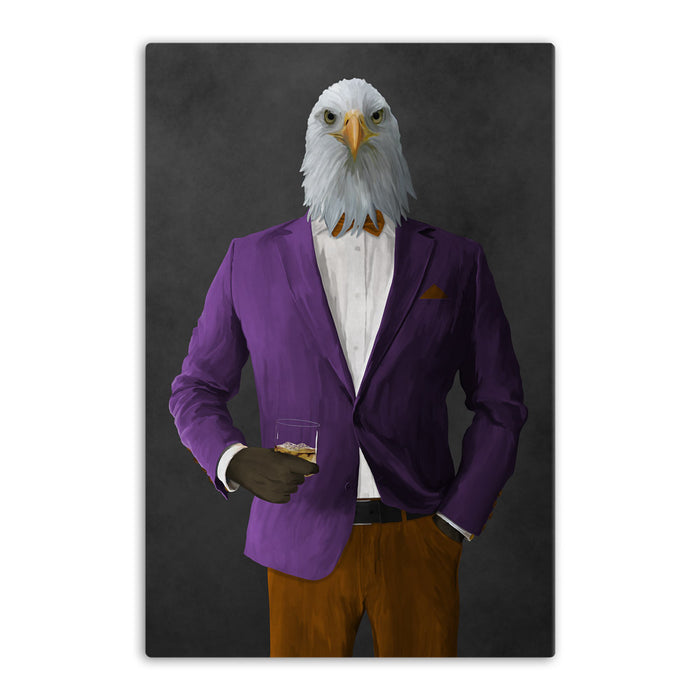 Bald eagle drinking whiskey wearing purple and orange suit canvas wall art