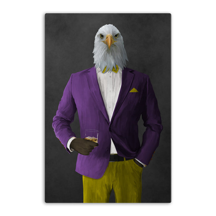 Bald eagle drinking whiskey wearing purple and yellow suit canvas wall art