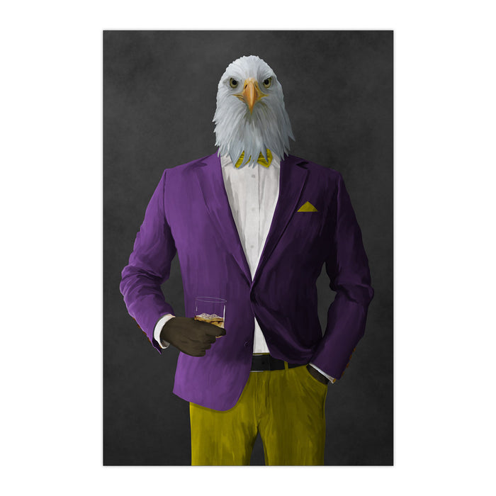 Bald eagle drinking whiskey wearing purple and yellow suit large wall art print