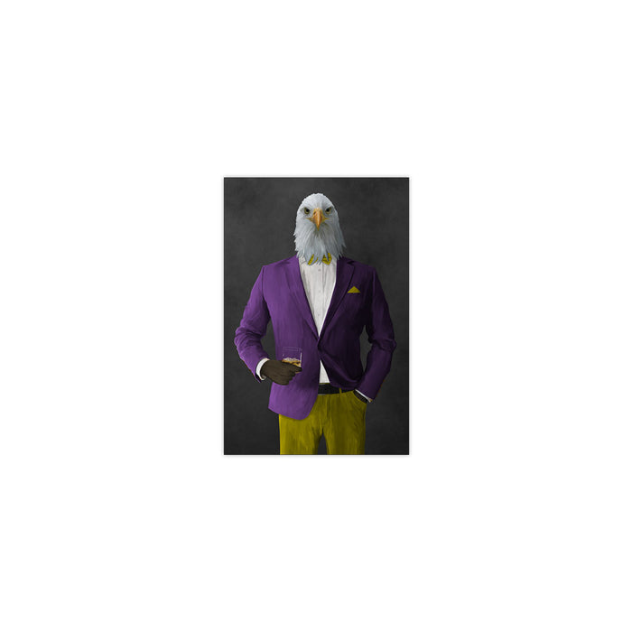 Bald eagle drinking whiskey wearing purple and yellow suit small wall art print
