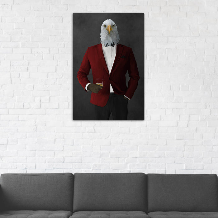 Bald eagle drinking whiskey wearing red and black suit wall art in man cave