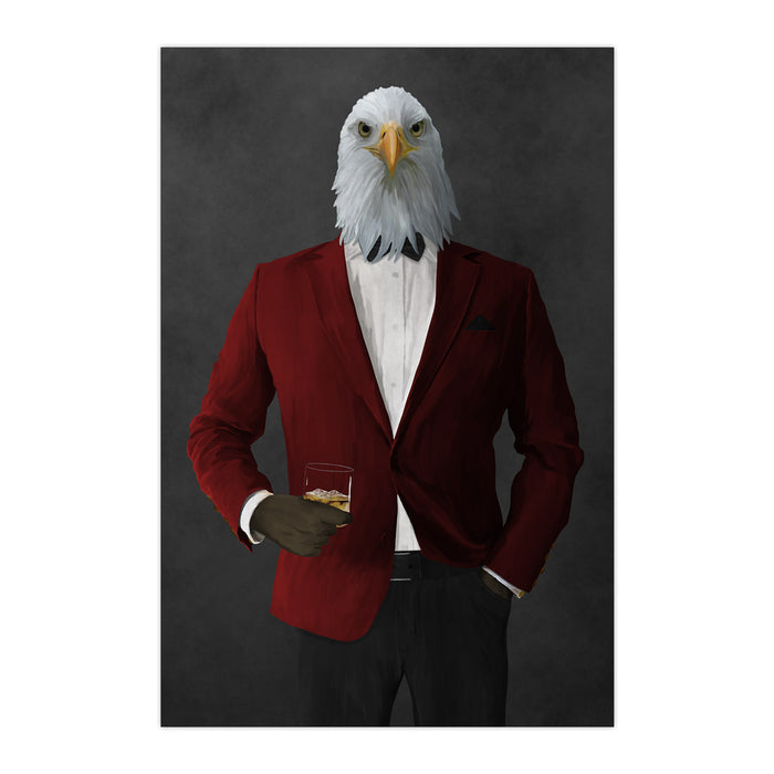 Bald eagle drinking whiskey wearing red and black suit large wall art print