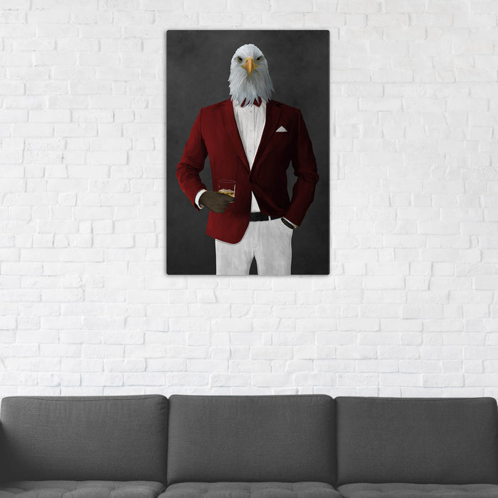 Bald eagle drinking whiskey wearing red and white suit wall art in man cave