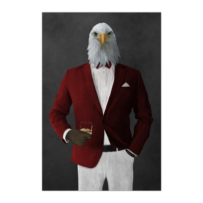 Bald eagle drinking whiskey wearing red and white suit large wall art print