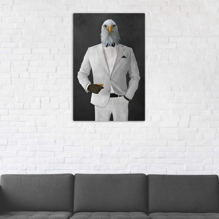 Bald eagle drinking whiskey wearing white suit wall art in man cave