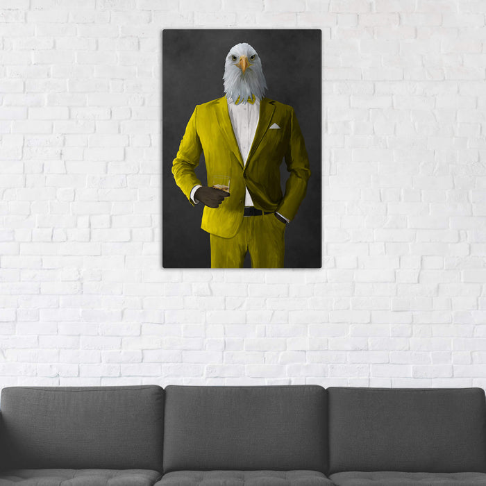 Bald eagle drinking whiskey wearing yellow suit wall art in man cave