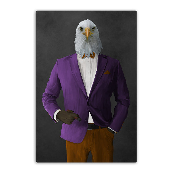 Bald eagle smoking cigar wearing purple and orange suit canvas wall art