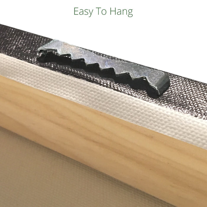 Closeup of sawtooth hanger on back of canvas bar art that's easy to hang