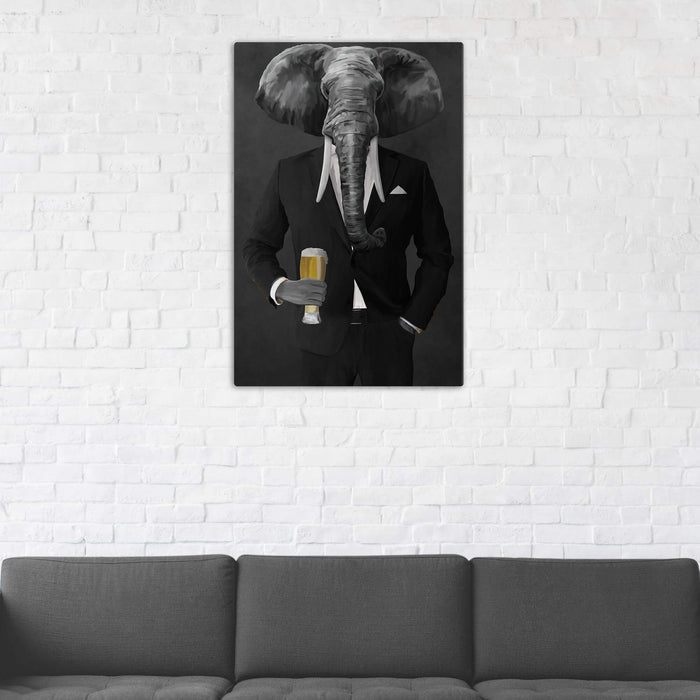 Elephant drinking beer wearing black suit wall art in man cave