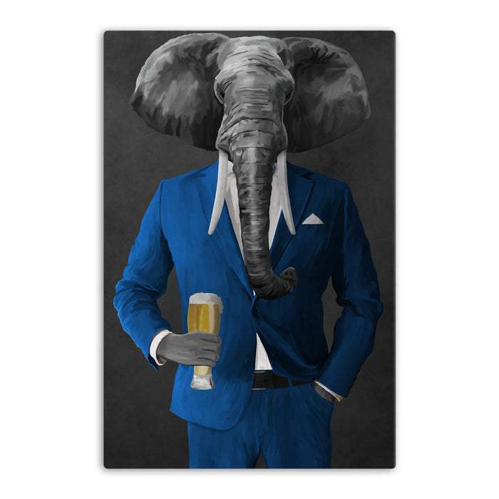 Elephant drinking beer wearing blue suit canvas wall art