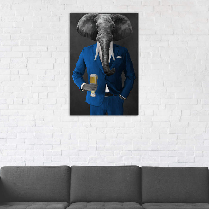 Elephant drinking beer wearing blue suit wall art in man cave