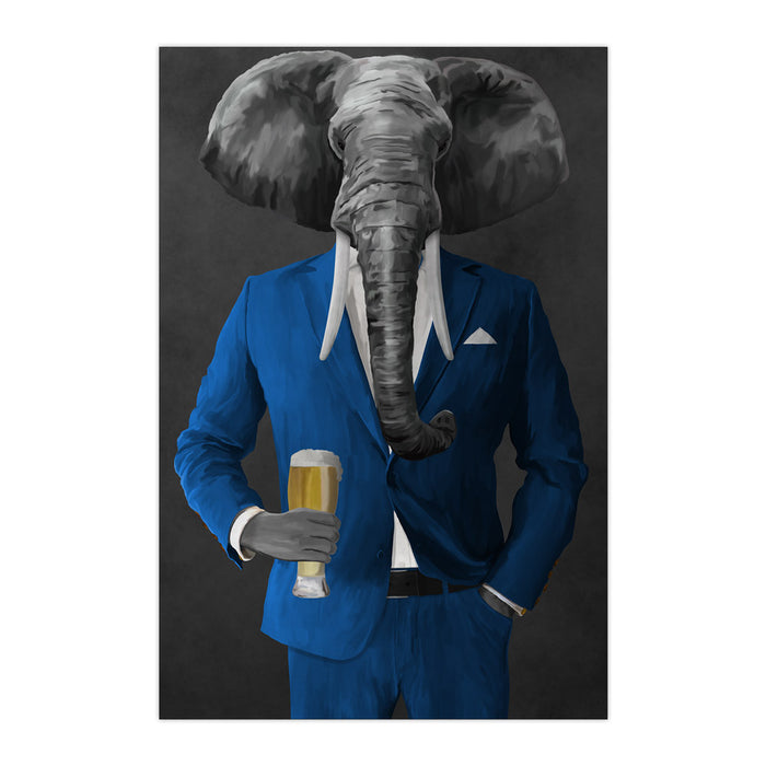 Elephant drinking beer wearing blue suit large wall art print