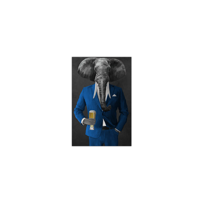 Elephant drinking beer wearing blue suit small wall art print