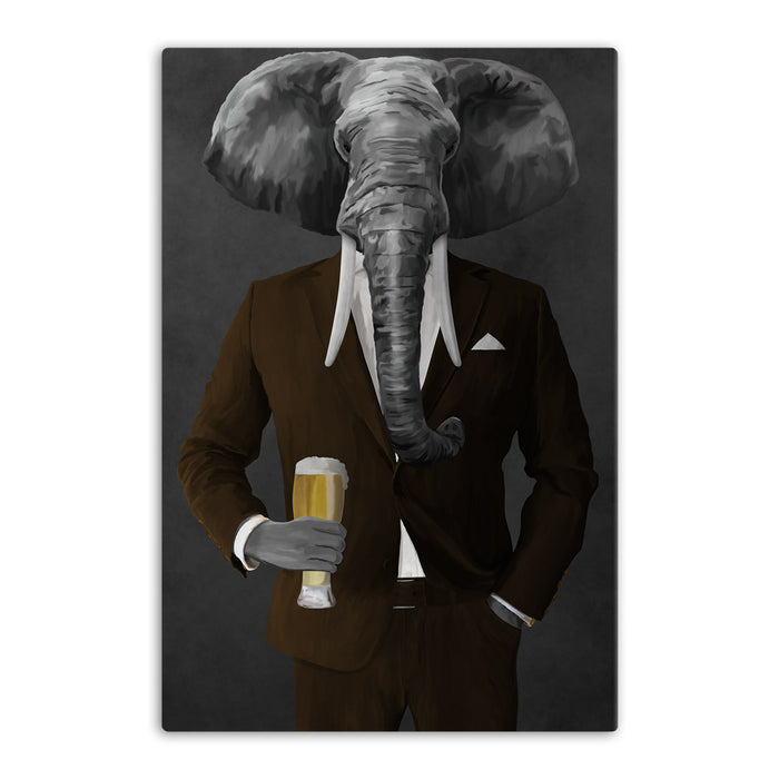 Elephant drinking beer wearing brown suit canvas wall art