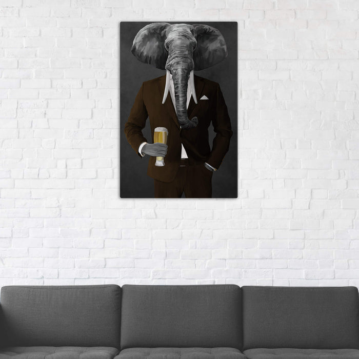 Elephant drinking beer wearing brown suit wall art in man cave