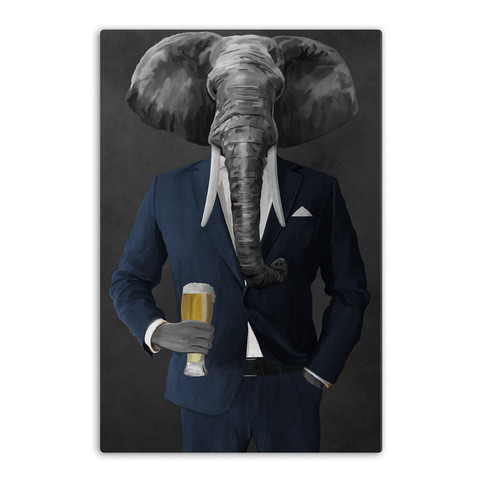 Elephant drinking beer wearing navy suit canvas wall art