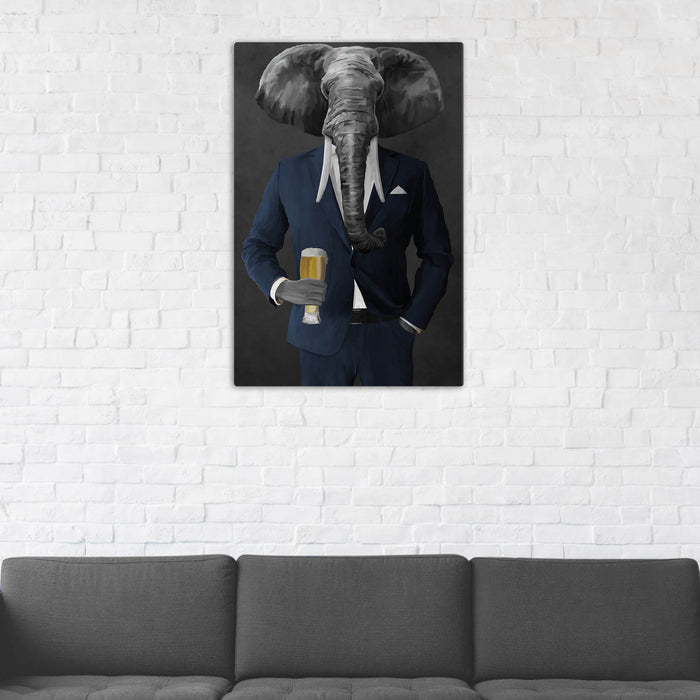 Elephant drinking beer wearing navy suit wall art in man cave