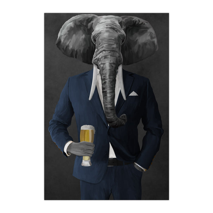 Elephant drinking beer wearing navy suit large wall art print