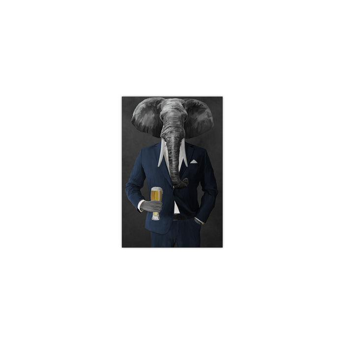 Elephant drinking beer wearing navy suit small wall art print