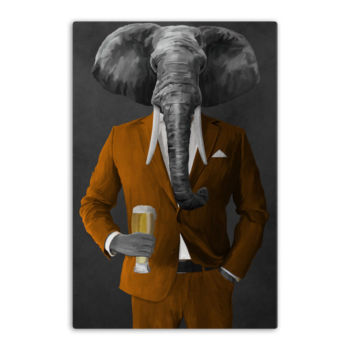 Elephant drinking beer wearing orange suit canvas wall art