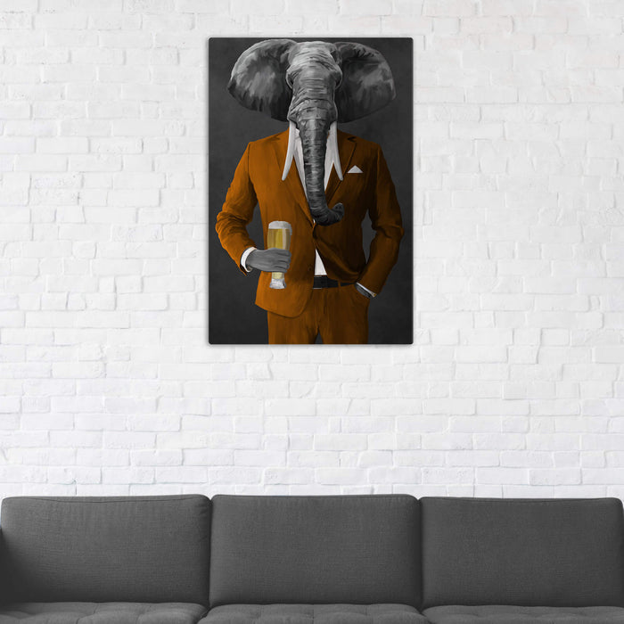 Elephant drinking beer wearing orange suit wall art in man cave