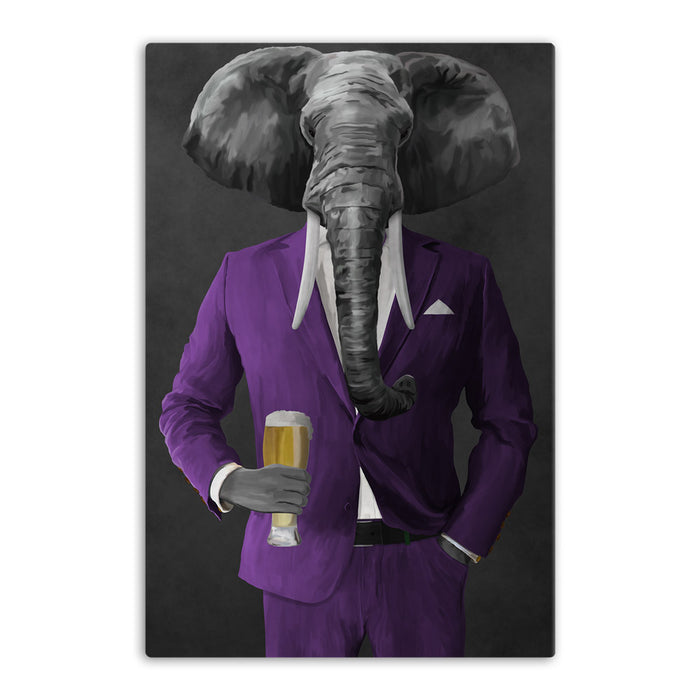 Elephant drinking beer wearing purple suit canvas wall art