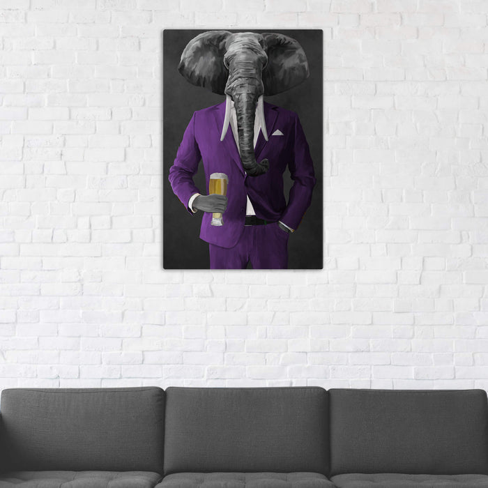 Elephant drinking beer wearing purple suit wall art in man cave