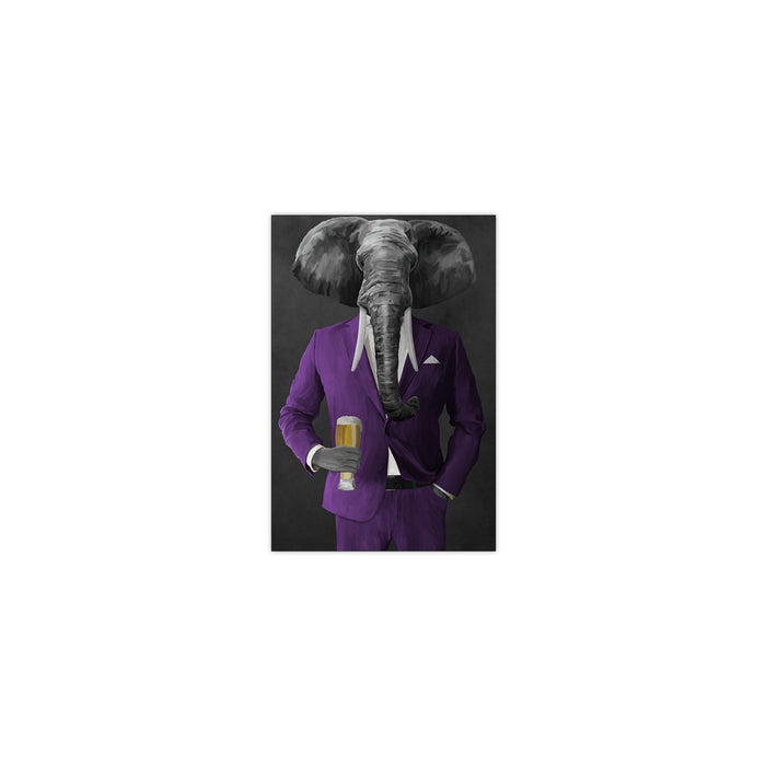 Elephant drinking beer wearing purple suit small wall art print