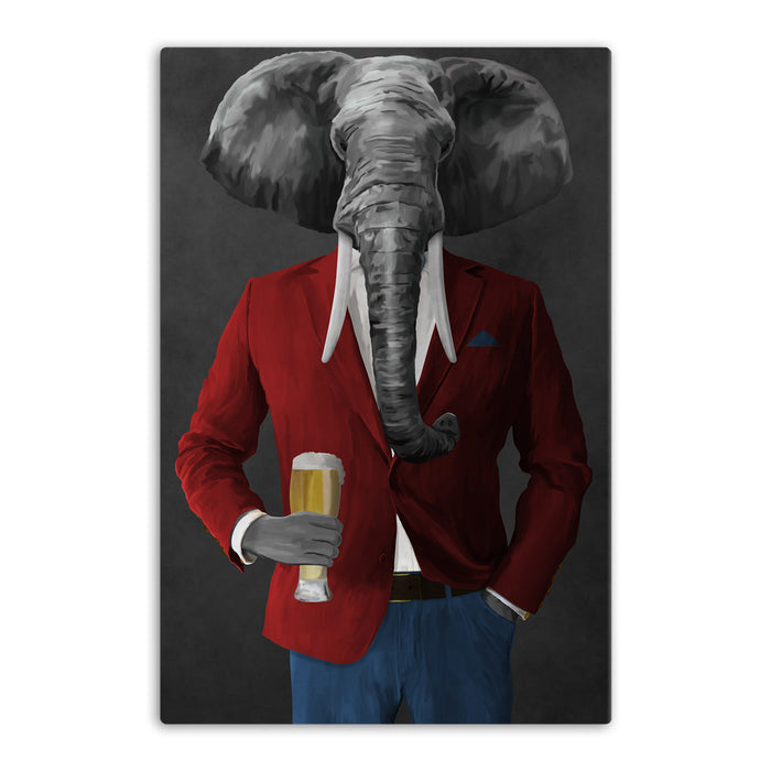 Elephant drinking beer wearing red and blue suit canvas wall art