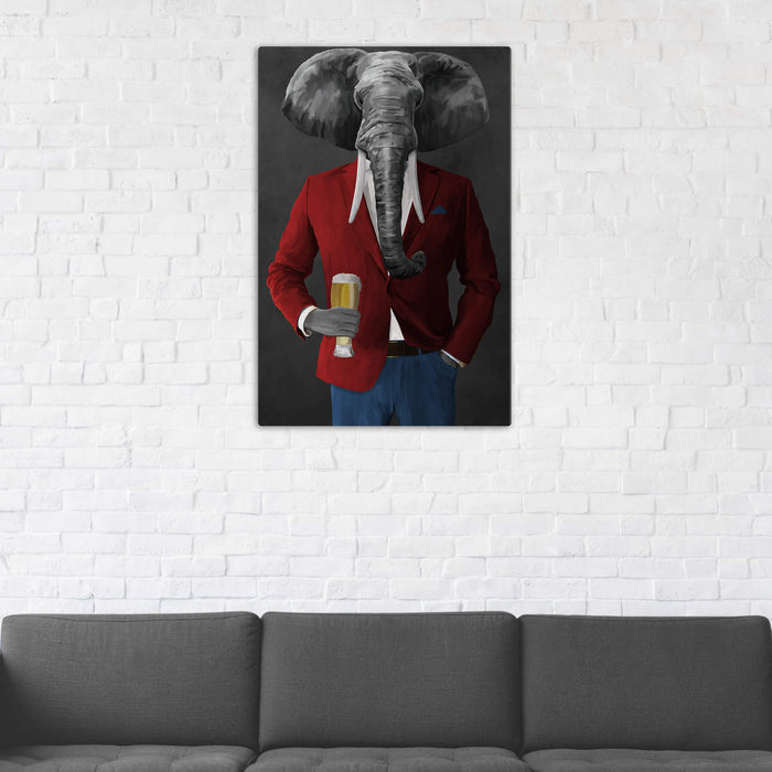 Elephant drinking beer wearing red and blue suit wall art in man cave