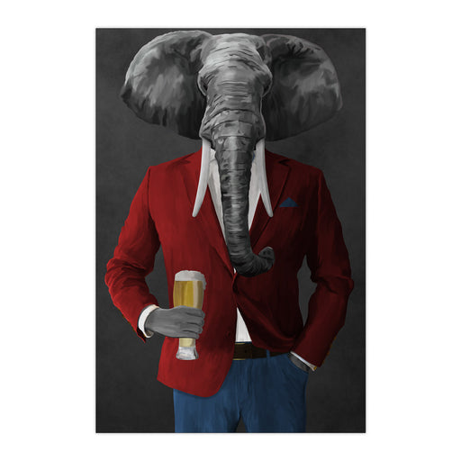 Elephant drinking beer wearing red and blue suit large wall art print