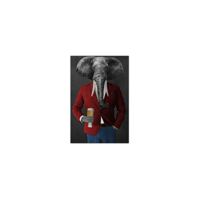 Elephant drinking beer wearing red and blue suit small wall art print