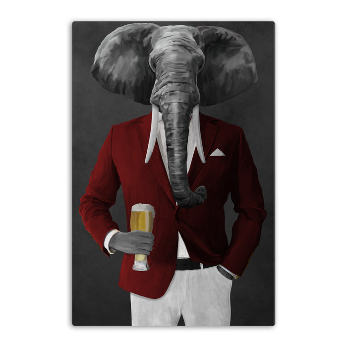 Elephant drinking beer wearing red and white suit canvas wall art
