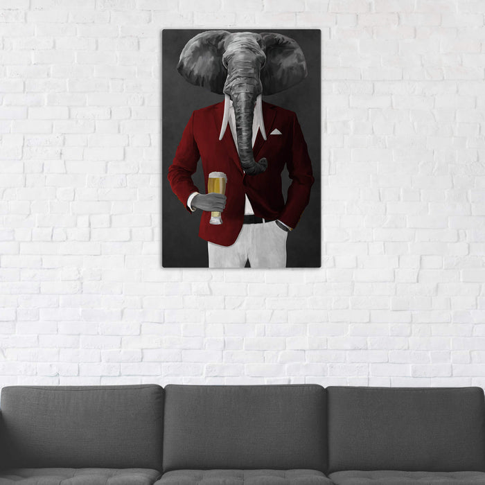 Elephant drinking beer wearing red and white suit wall art in man cave