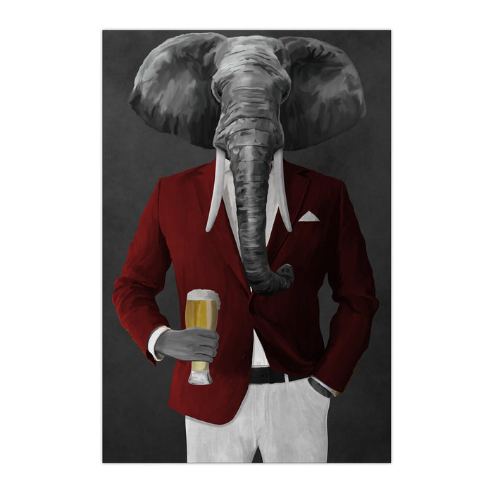 Elephant drinking beer wearing red and white suit large wall art print