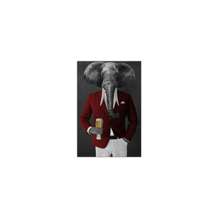 Elephant drinking beer wearing red and white suit small wall art print