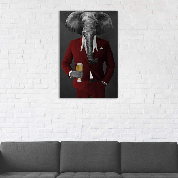 Elephant drinking beer wearing red suit wall art in man cave