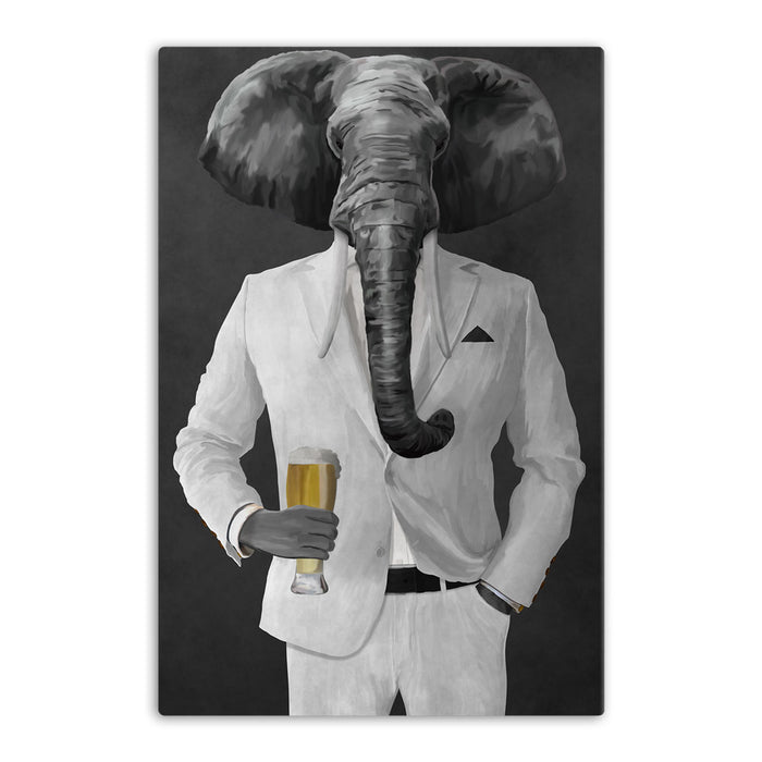 Elephant drinking beer wearing white suit canvas wall art
