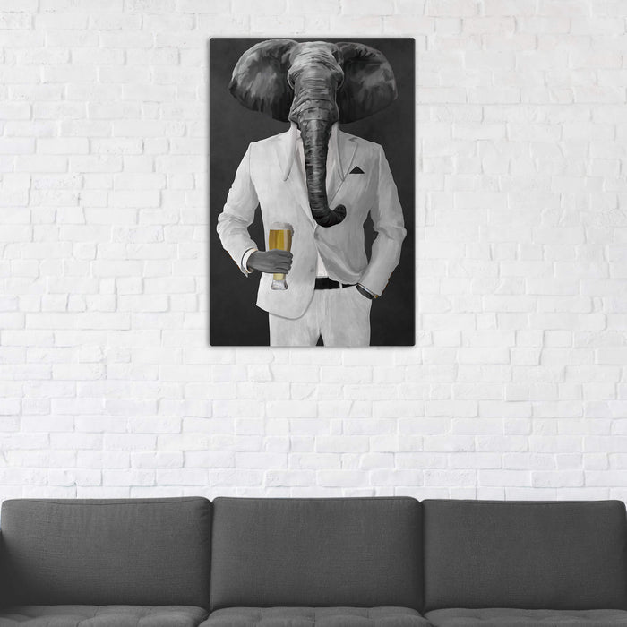 Elephant drinking beer wearing white suit wall art in man cave