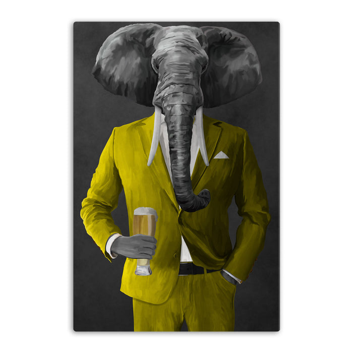 Elephant drinking beer wearing yellow suit canvas wall art