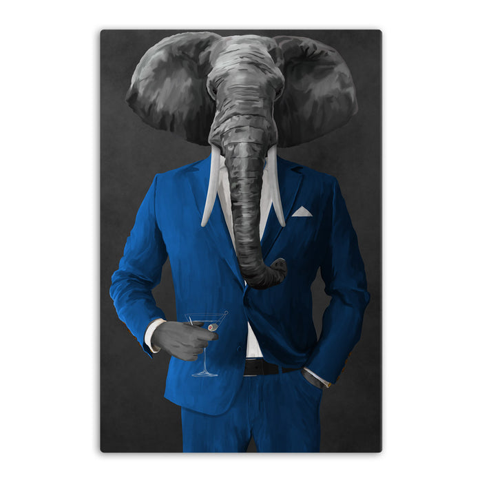 Elephant drinking martini wearing blue suit canvas wall art